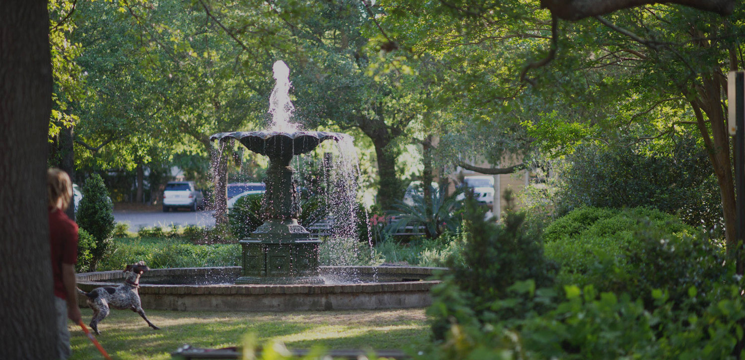 Outdoor water fountain surrounded by greenery