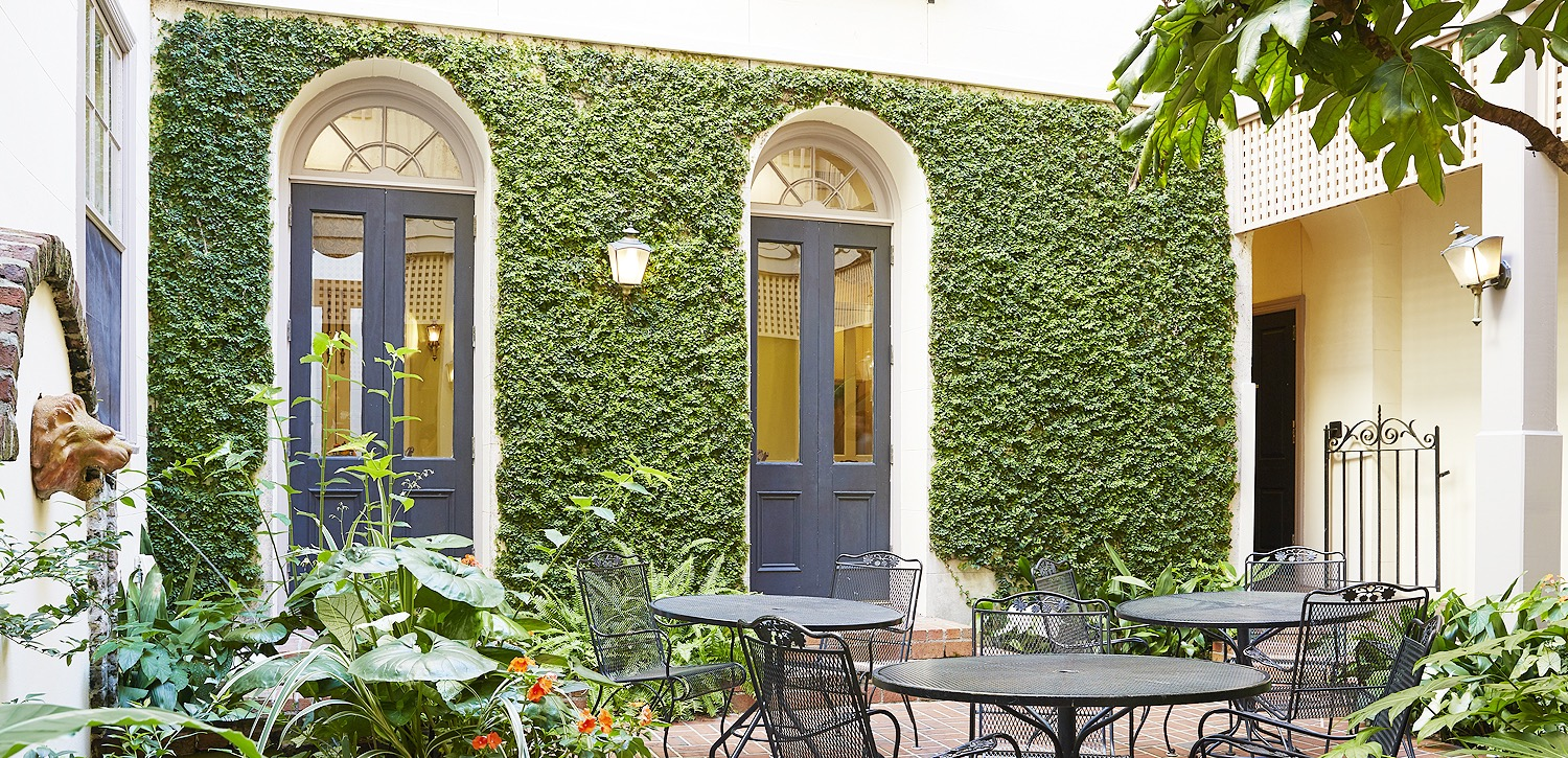 wall with greenery and tall french black doors