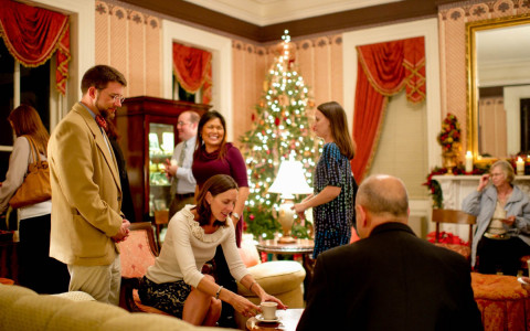 couples enjoying conversation in a room with christmas decor