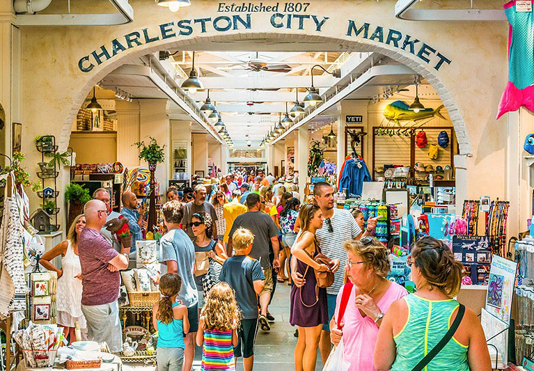 Charleston city market with people browsing at merchandise