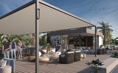 rooftop with patio covering with modern seating and people talking