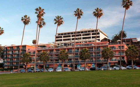 exterior of the hotel with palm trees in front