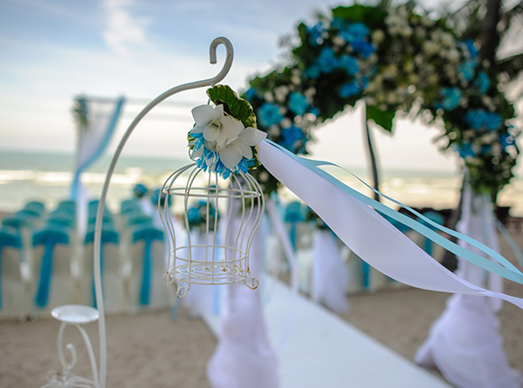 wedding ceremony set up beachside at La jolla resort