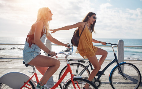 two girls bike riding
