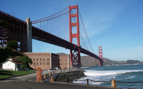 Fort Point historic site beneath Golden Gate Bridge