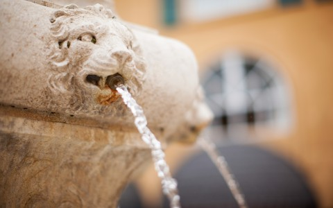 Outdoor water fountain with lion heads