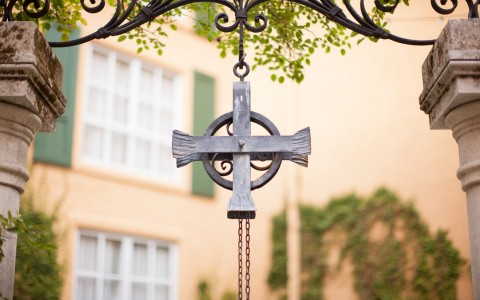Iron cross hanging outside