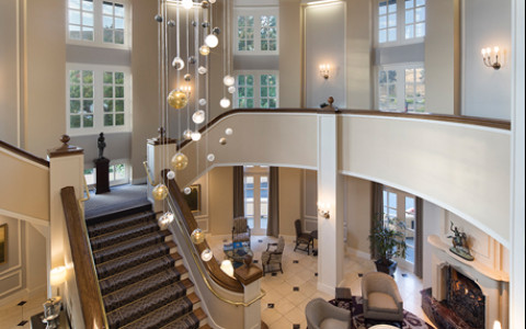 Lafayette park hotel lobby with a staircase and chandelier