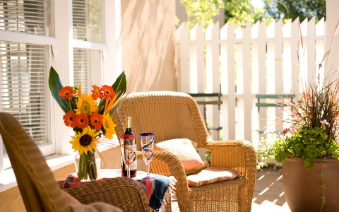 Wicker Chairs on Patio with Small Table