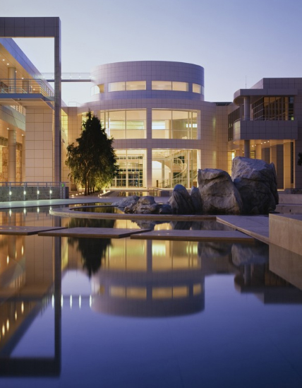 the outside of the getty museum
