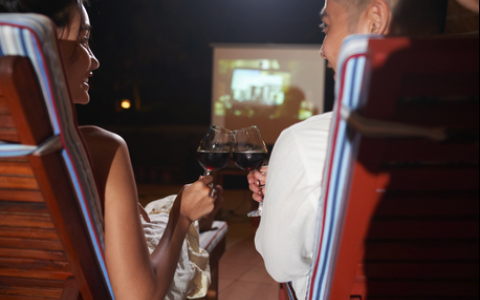 Couple toasting wine at outdoor park movie