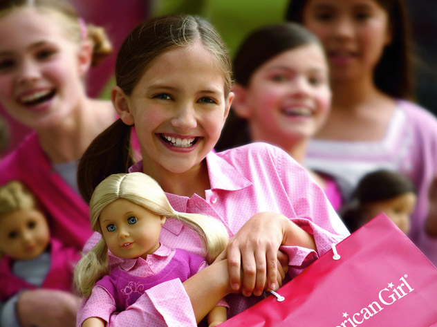 young girls with american girl dolls