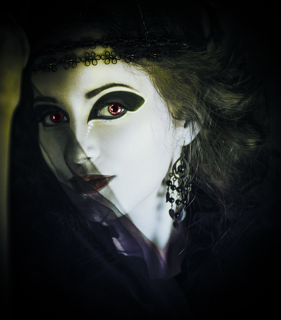close up photo of a gothic woman with a black veil and heavy makeup
