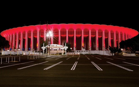 night shot of the parking lot of the LA Forum