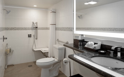 Bathroom with walk in shower, toilet, and counter space with sink