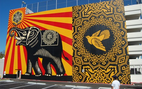 mural in LA of an elephant and a dove