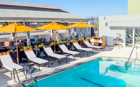rooftop pool overlooking west hollywood
