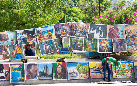Street artist selling paintings