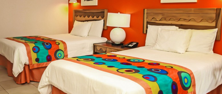 colorful room with two beds