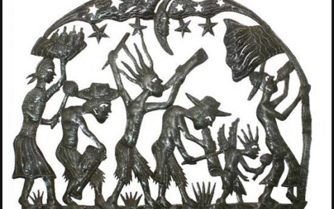 Haitian Metal Art Depicting a Rara Band