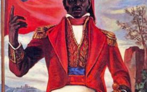 Painting of Haitian Leader Jean Jacques Dessalines in a Brightly Colored Military Uniform