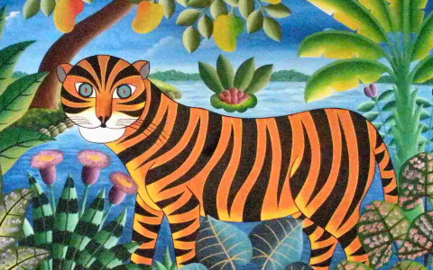 haitian painting of a tiger