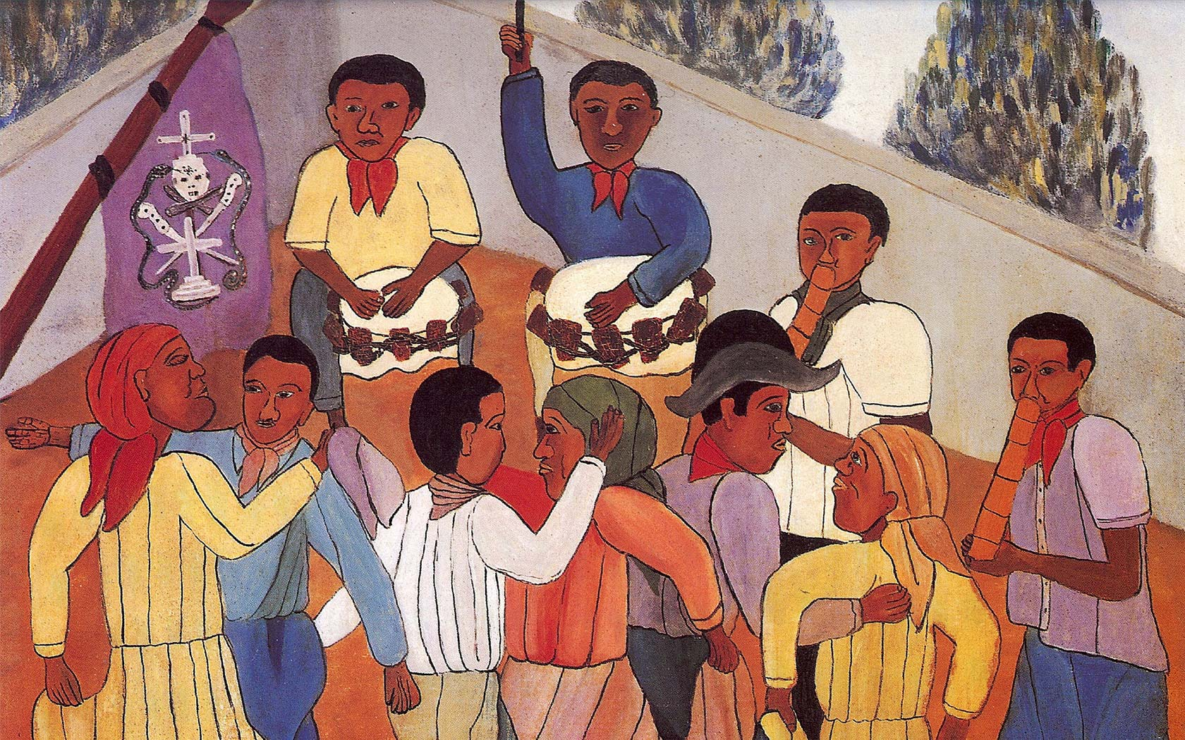 cartoon drawing of people dancing and playing music