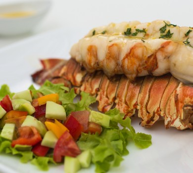 Fresh lobster with salad