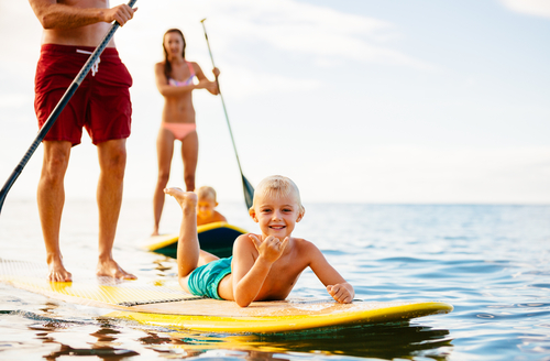 standup paddle boarding family