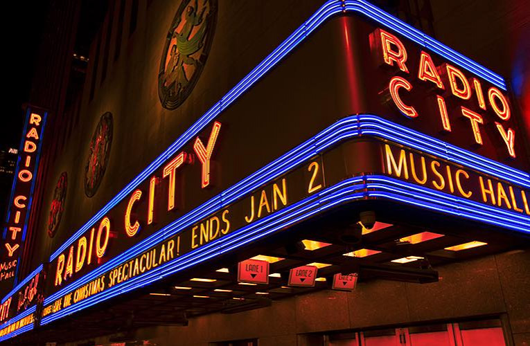 Radio city music hall neon sign