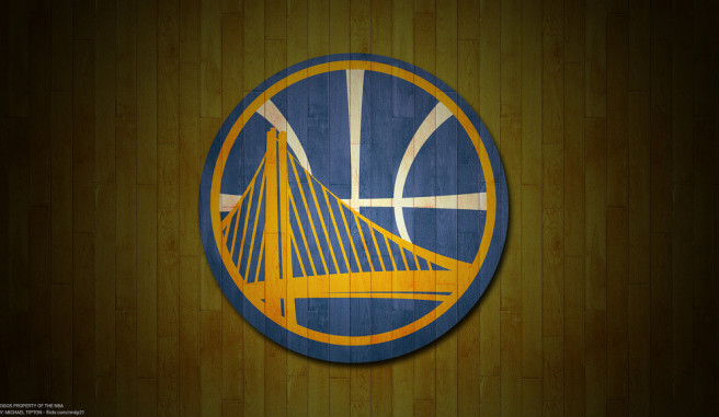 Golden State Warriors Patch against the brown hardwood