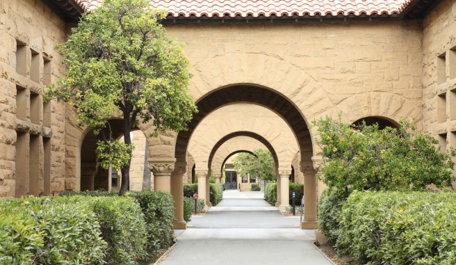 arched pathway of large stone building flanked by green bushes and trees