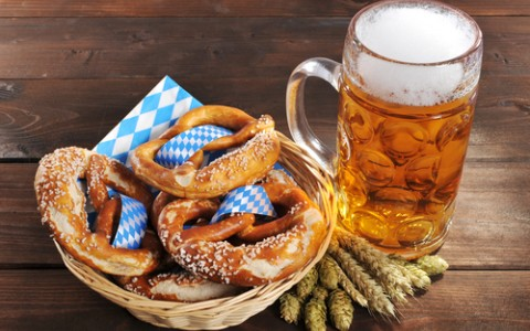 oktoberfest soft pretzels and beer