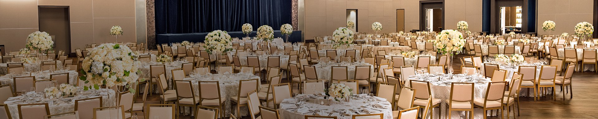 cropped view of wedding venue tables