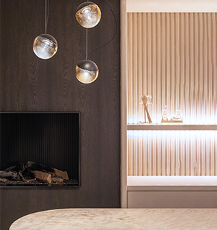 modern hanging lamps and fire place