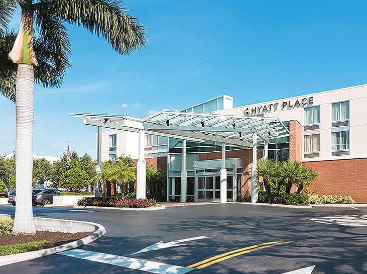 White Hyatt Place building in Sarasota