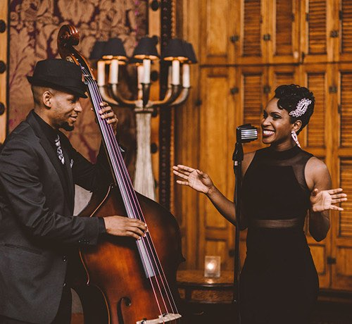 A jazz singer and cello player performing