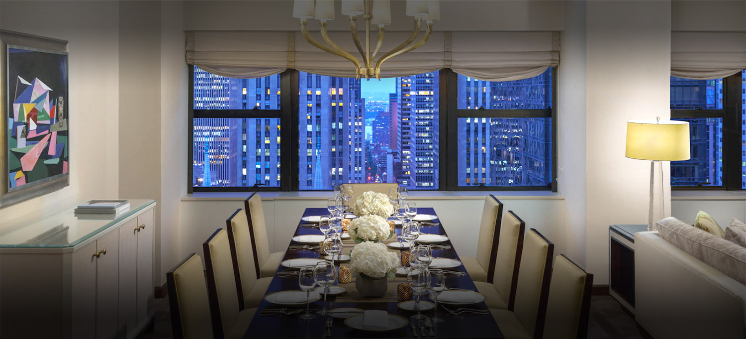 dining room table with city views