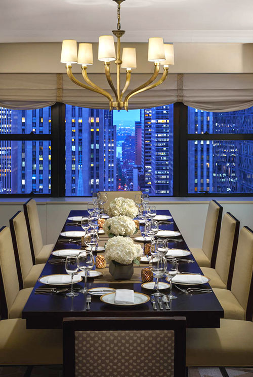 dining room in a suite with new york city views