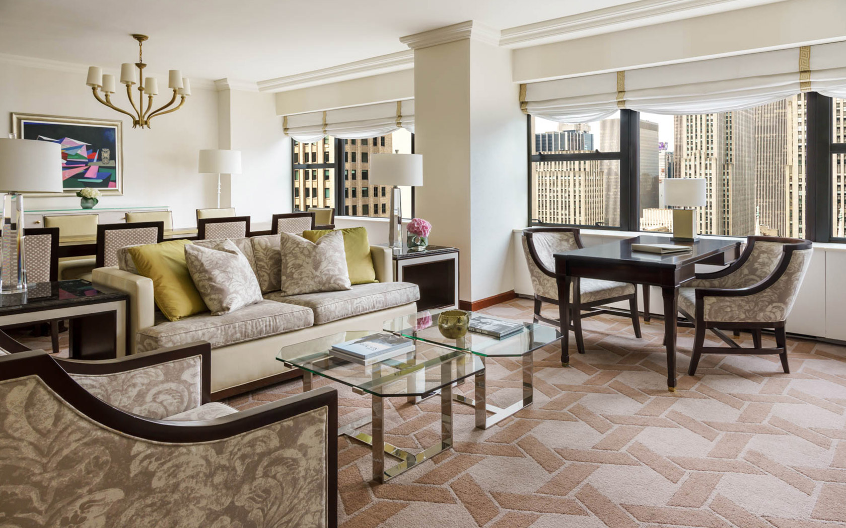 The Palace Deluxe Corner Suite Living Room With Sofa And Chairs And Skyline  Views Of New