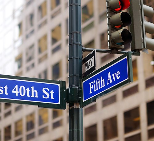 Street signs at the corner of 40th Street and 5th Avenue in New York City Inset