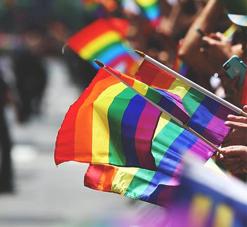 Close up of people holding rainbow flags