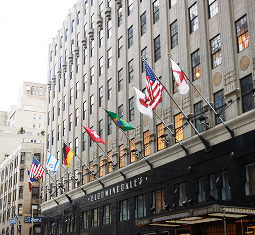 Bloomingdales entrance with flags