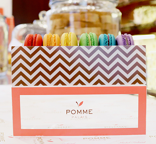 signature Pomme Palais rainbow macaroons celebrating Pride Month