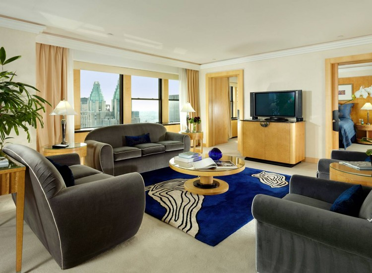 Living space with grey couches, blue accent rug, wooden coffee table & window with city view