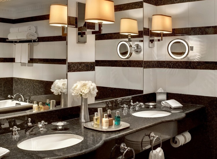 Black bathroom vanity with two sinks