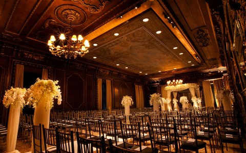 Wedding ceremony in the ornate Drawing Room.