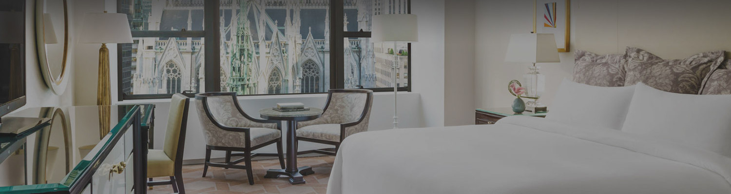 Guest room with a priceless view of St. Patrick Cathedral.