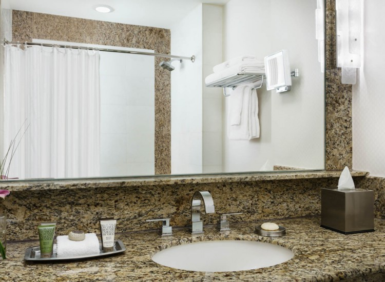 The Palace Standard Bathroom vanity with granite countertop & shower