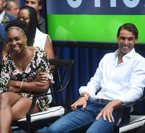 Venus Williams sitting with Rafael Nadal and laughing